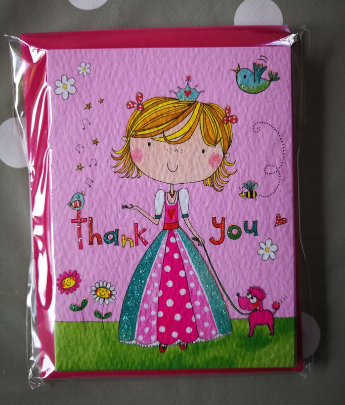 Rachel Ellen Pack of 5 Thank You Note Cards - Princess & Poodle Design - product images  of
