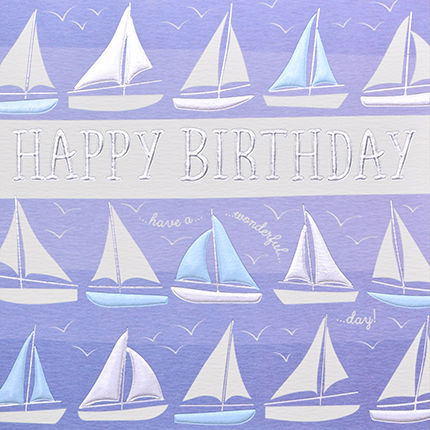 Hand,Finished,Boats,Birthday,Card,buy birthday cards for him online, buy boat birthday cards online, buy sailing birthday cards for men online, buy yacht birthday cards online, buy gone sailing birthday cards online, buy boys train birthday cards online, buy unisex birthday