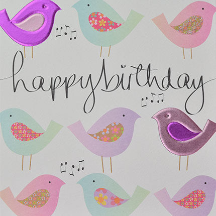 Hand,Finished,Birds,Birthday,Card,buy birthday cards for her online, buy birthday cards with birds online, buy owl birthday cards online, buy unisex bird birthday cards online