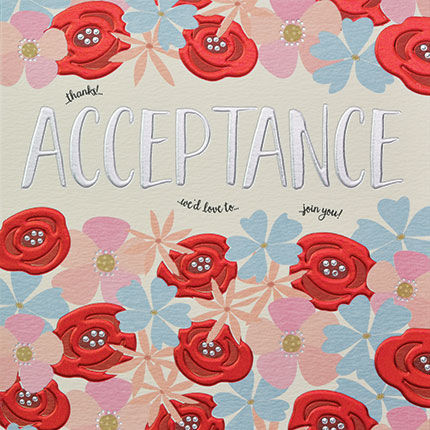 Hand,Finished,Floral,Acceptance,Card,buy acceptance cards online, buy wedding acceptance cards online, buy party acceptance card online, buy would love to come card online, buy wed love to come cards online, buy floral acceptance cards, acceptance cards with flowers