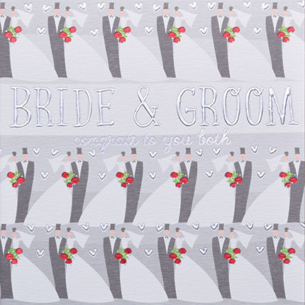 Hand,Finished,Bride,&,Groom,Wedding,Card,buy bride and groom cards online, buy wedding day cards for bride and groom online, buy congrats on your wedding cards online, buy contemporary wedding cards online
