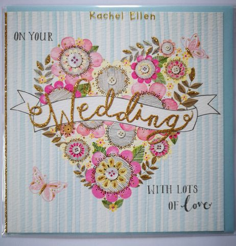 Floral,Heart,&,Buttterflies,On,Your,Wedding,Card,buy bride and groom cards online, buy wedding day cards with butterflies and hearts online, buy butterfly wedding cards online, buy wedding cards with hearts online