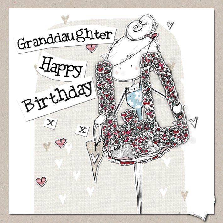 Hand Finished Granddaughter 40th Birthday Card - Large Birthday Card - product images  of