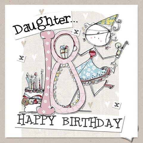 Hand Finished Daughter 18th Birthday Card
