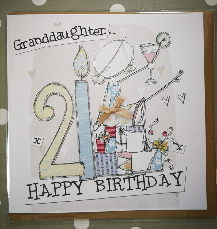 Hand Finished Granddaughter 21st Birthday Card - Large Birthday Card - product images  of