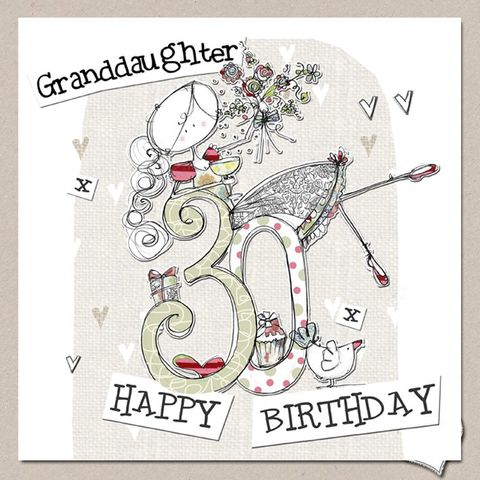 Hand,Finished,Granddaughter,30th,Birthday,Card,-,Large,buy granddaughter 30th birthday cards online, buy 30th birthday cards for granddaughters online, granddaughter age thirty birthday cards, buy large 30th birthday cards online, buy luxury thirtieth birthday cards for grand-daughters and grandchildren