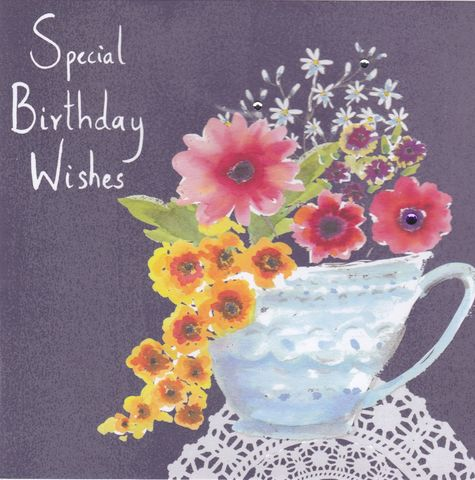 Flowers,and,Teacup,Special,Birthday,Wishes,Card,buy female birthday cards online, buy birthday cards for her online, buy flowers birthday card online, buy flowers birthday cards, girls pink floral birthday card, pink birthday cards for girls