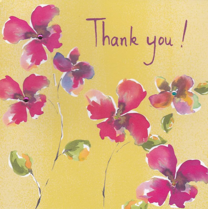 Pink Flowers Thank You Card - product images
