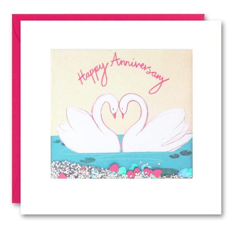 Shakies Swans Happy Anniversary Card - product images