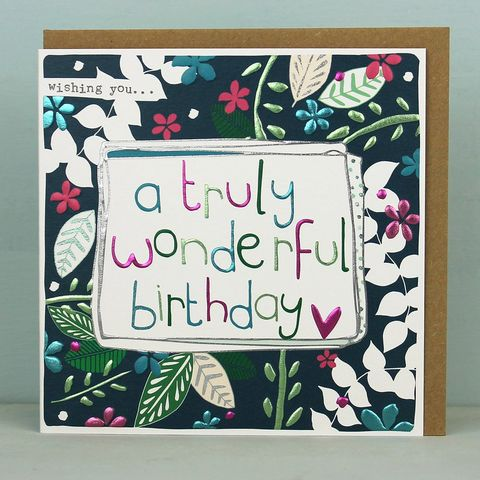 Wishing,You,A,Truly,Wonderful,Birthday,Card,buy botanical birthday cards for her online, buy pretty floral birthday cards for females online, buy birthday cards with leaves online, buy nature birthday cards online, buy unisex gender neutral birthday cards with plants online, buy female birthday car