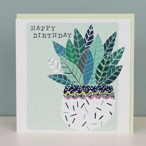 House,Plant,Happy,Birthday,Card,buy botanical birthday cards for her online, buy house plant birthday cards online, buy plant birthday cards for him, buy pretty floral birthday cards for females online, buy birthday cards with leaves online, buy nature birthday cards online, buy unisex
