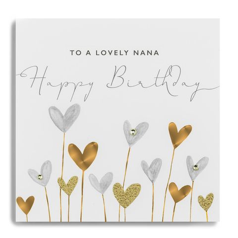 Hand,Finished,Lovely,Nana,Birthday,Card,buy nana birthday card online, buy heart birthday cards for nanas online, buy birthday cards for nanas with hearts online, beautiful nana birthday cards, luxury birthday cards for grandparent, handmade birthday cards for nannas, grandparent birthday card