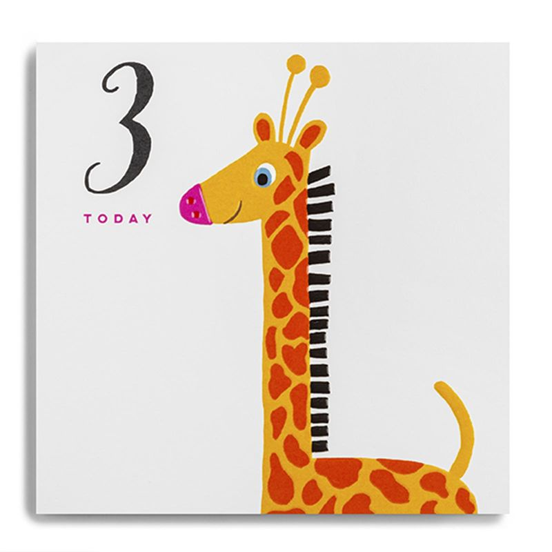 Giraffe 3 Today Birthday Card  - product images