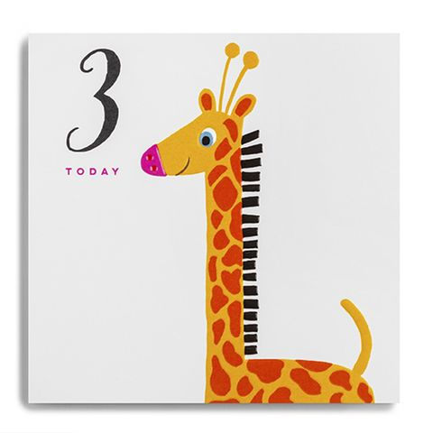 Giraffe,3,Today,Birthday,Card,buy third birthday card for child online, buy age three birthday card for boy online, buy 3rd birthday card for girl online, buy giraffe 3 today birthday card online, buy 3rd birthday cards online with animals, giraffe age 3 birthday card