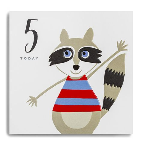Raccoon,5,Today,Birthday,Card,buy 5th birthday card for child online, buy age five birthday card for boy online, buy fifth birthday card for girl online, buy raccoon 5 today birthday card online, buy kids 5th birthday cards online with animals, buy kids age five cards online, buy boys