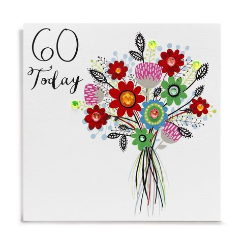 Hand,Finished,Bouquet,Of,Flowers,60th,Birthday,Card,buy 60th birthday card for her online, buy flowers age 60 card for her online, buy female age sixty birthday cards online, buy beautiful floral 60th birthday cards for her online, buy age 60 cards with flowers online