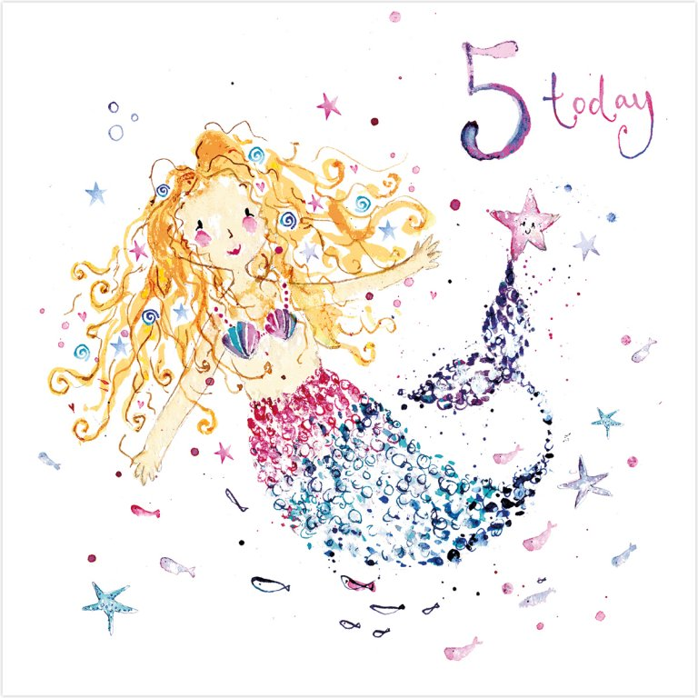 buy mermaid age five birthday card online for little girl, fifth age five, birthday card with mermaids from karenza paperie