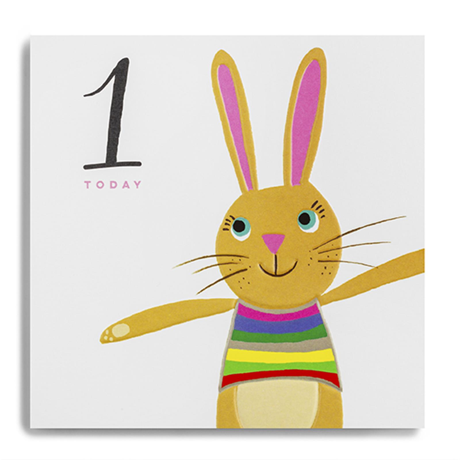 buy 1st birthday card online with bunny rabbit for little boy baby girl toddler first birthday cards age one cards with animals bunnies bunny rabbits from karenza paperie