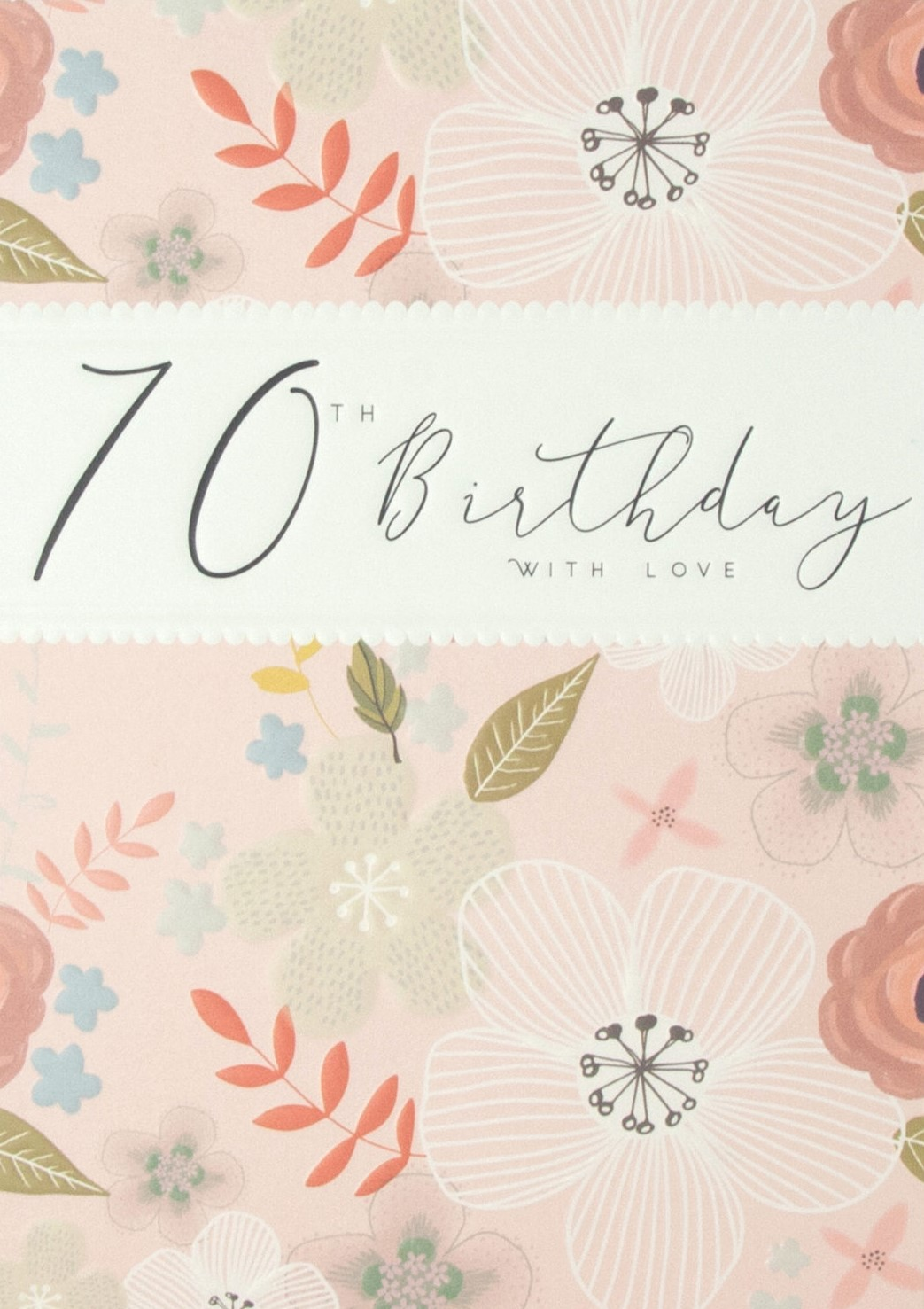 buy 70th birthday card for her online with pink flowers leaves contemporary age seventy seventieth female birthday cards buy online from karenza paperie