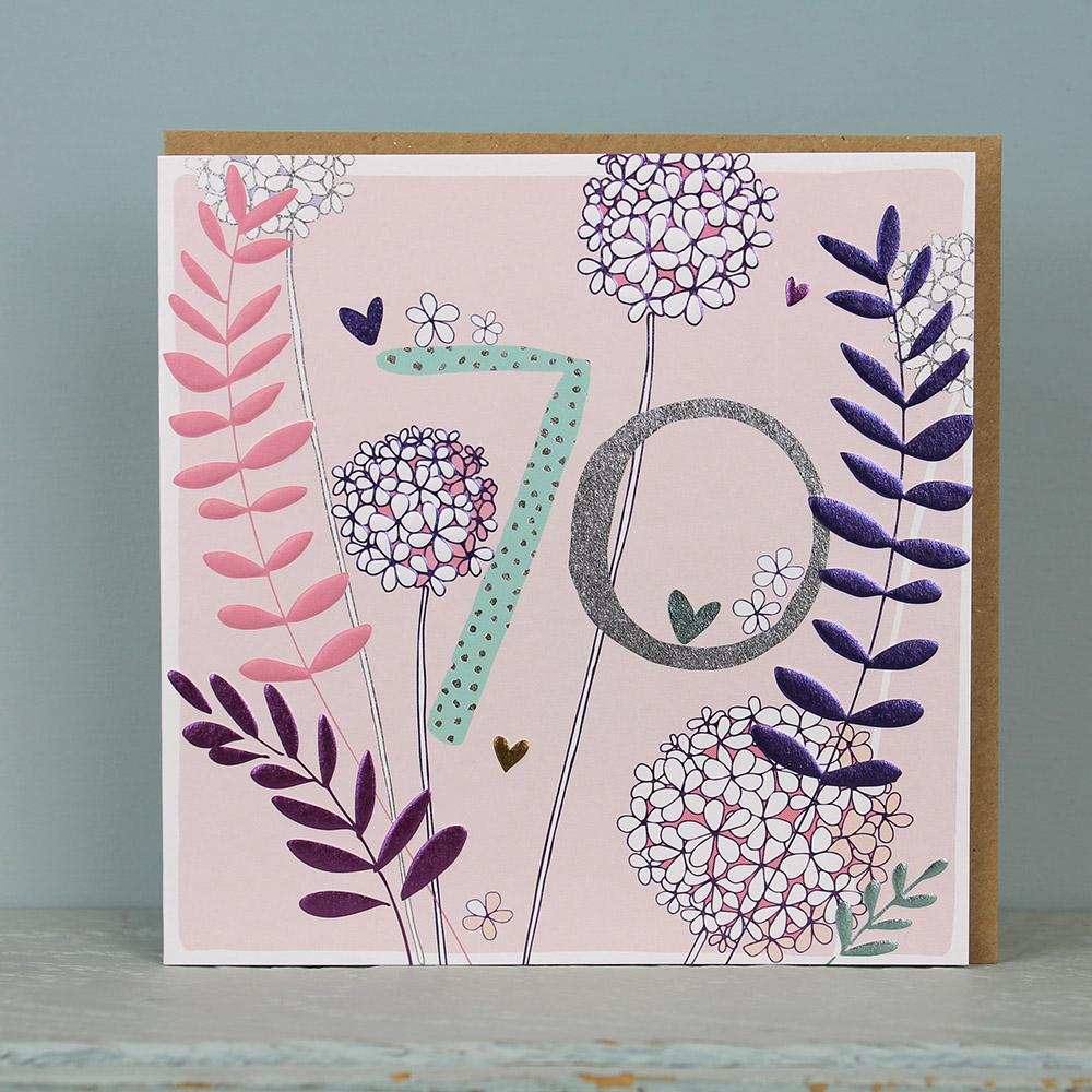 buy pink floral pretty age seventy birthday cards for her online, female 70th birthday cards with flowers nature botantical cards from karenza paperie