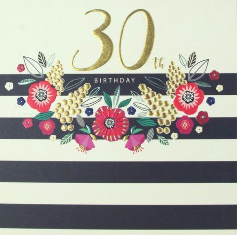 Flowers,&,Stripes,30th,Birthday,Card,buy 30th birthday cards for her online, buy striped 30th birthday cards online, buy female age thirty birthday cards online, floral 30th birthday cards for her, buy age thirty birthday cards with flowers online, ladies birthday card for 30th with flowers
