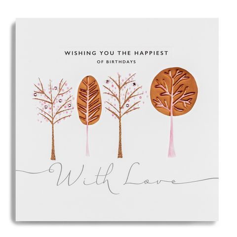 Hand,Finished,Wishing,You,The,Happiest,Of,Birthdays,Card,buy luxury birthday cards online with nature, buy tree and woods birthday cards online for her, buy hand finished deluxe birthday cards online, buy unisex gender neutral nature garden tree wildlife birthday cards online, buy birthday cards for autumn with