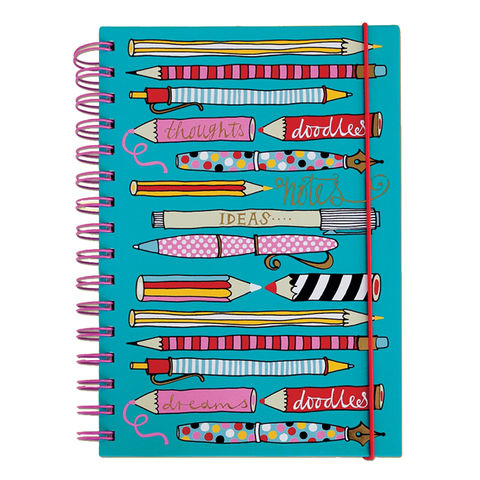 Rachel,Ellen,Pens,and,Pencils,A5,Notebook,buy notebooks for girls, boys and children online, buy childrens A5 notebooks online, buy rachel ellen A5 notebooks online pen and pencils thoughts and doddles design, buy lxuury notebooks online at karenza paperie