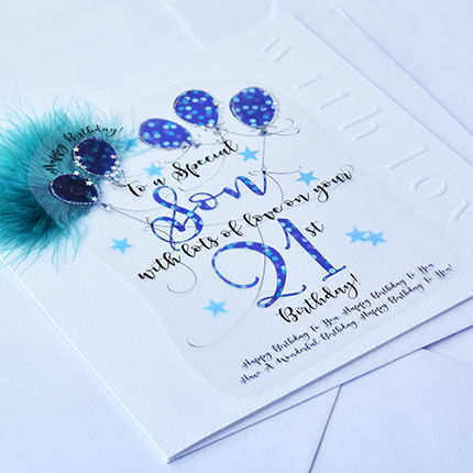 Handmade Son 21st Birthday Card - Large, Luxury Birthday Card - product images  of