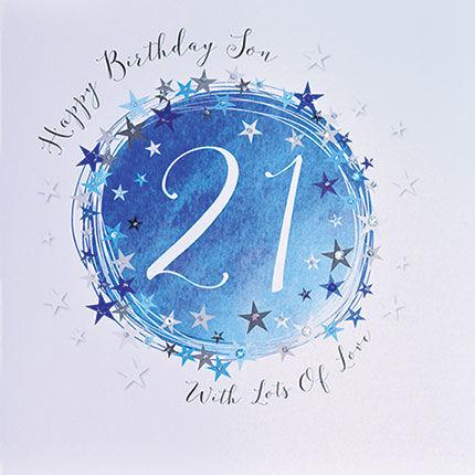Stars Son 21st Birthday Card