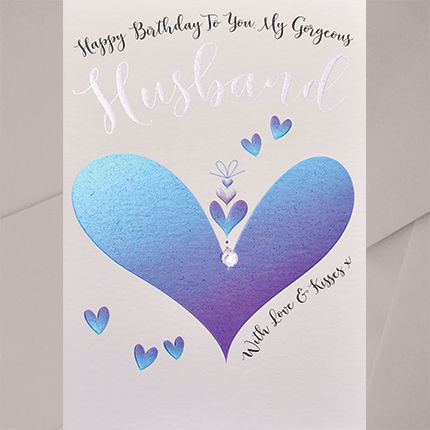 Hand,Finished,To,You,My,Gorgeous,Husband,Birthday,Card,buy husband birthday card online, buy birthday cards for husbands, hubby card, husband card, large husband birthday card, buy uxury birthday cards for special husband online, buy to my gorgeous husband birthday card online with love hearts, buy heart birt