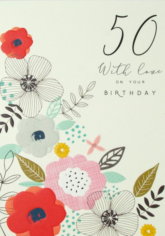 Floral 50th With Love Birthday Card - product images  of