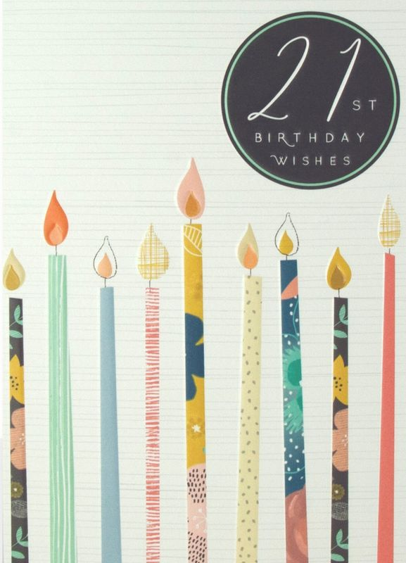 Candles 21st Birthday Wishes Birthday Card - product images  of