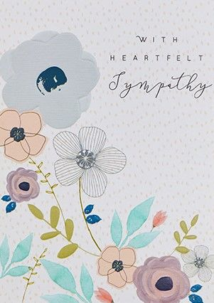 With Heartfelt Sympathy Floral Sympathy Card - product images  of