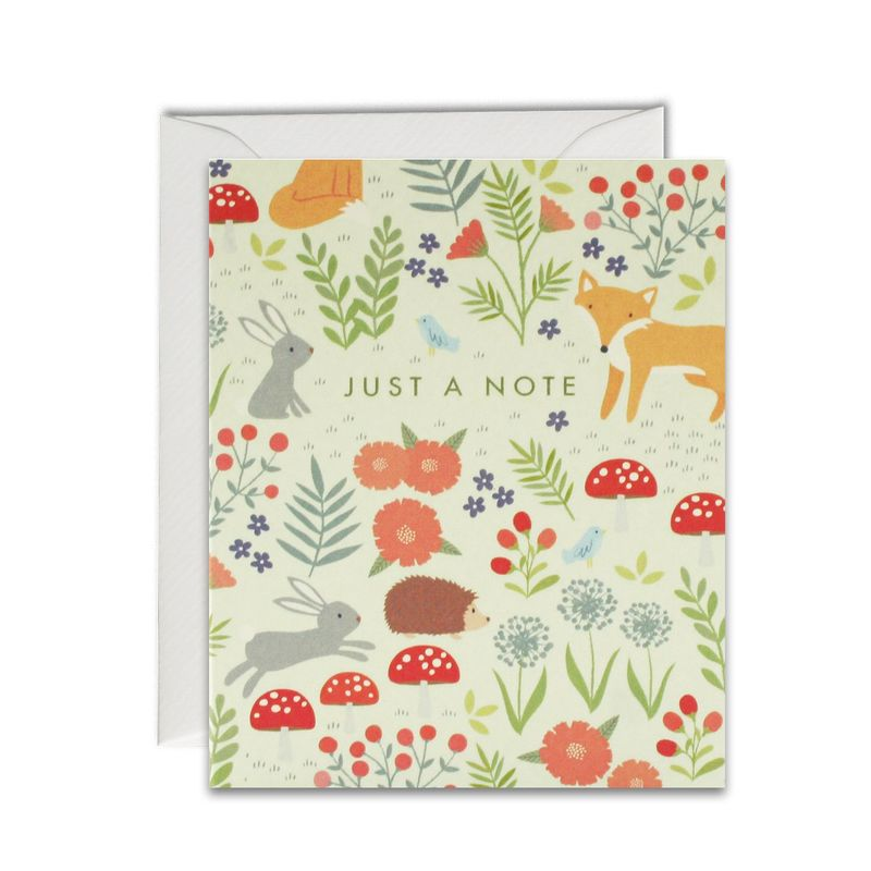 Woodland Pattern Just A Note Cards - Pack of 5 Mini Cards - product images