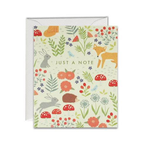 Woodland,Pattern,Just,A,Note,Cards,-,Pack,of,5,Mini,buy cards for autumn online, buy just a note stationery online, buy animal note cards online, buy notelets online with animals, buy hedgehog cards online, buy fox and hedgehog stationery online, buy floral stationery online, buy toadstools cards online