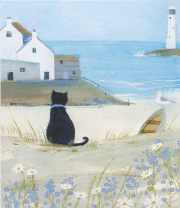 Hannah,Cole,Sea,Cat,Greetings,Card,buy hannah cole cards online, buy sea cat hannah cole cards online, buy seaside cards online by Hannah Cole, buy cat cards online, buy lighthouse and seagull beach cards online, buy cornish art cards online, buy cornwall cards online