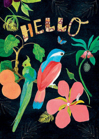 Rachel,Grant,Tropical,Birds,Hello,Card,buy rachel grant tropical hello card online, buy tropical birds, flowers, fruit cards online, buy cards with birds online, buy hello cards with birds and flowers online, buy botantial art cards onlnie with birds flowers fruit and leaves, buy cards to say
