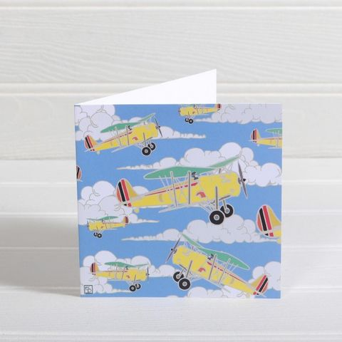 Yellow,Aeroplanes,Greetings,Card,-,Emily,Burningham,Blank,buy emily burningham cards online, buy blank cards with aeroplanes online, buy yellow airplane, plane, biplane, aeroplanes cards for him online, buy male cards with planes online