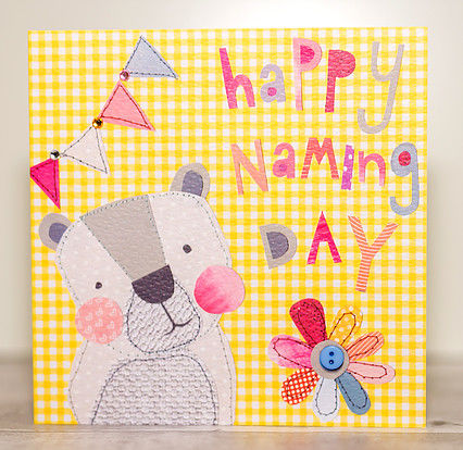 Bear,&,Flower,Naming,Day,Card,buy naming day cards online, buy baby's naming days cards online, buy animal cards for naming day, baby boy naming day card, baby girl naming day card