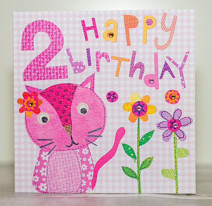 Pink,Cat,2nd,Birthday,Card,buy 2nd birthday card online, buy age two birthday cards online, buy girls 2nd birthday card online, buy age 2 cards for girls, little girls second birthday card, cat 2 today birthday card, birthday cards with cats, childrens age birthday cards, kitten ca
