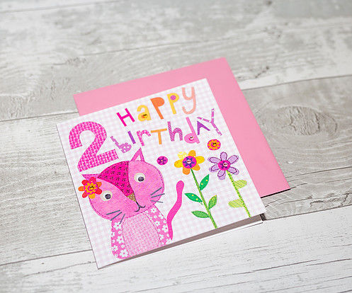 Pink Cat 2nd Birthday Card - product images  of