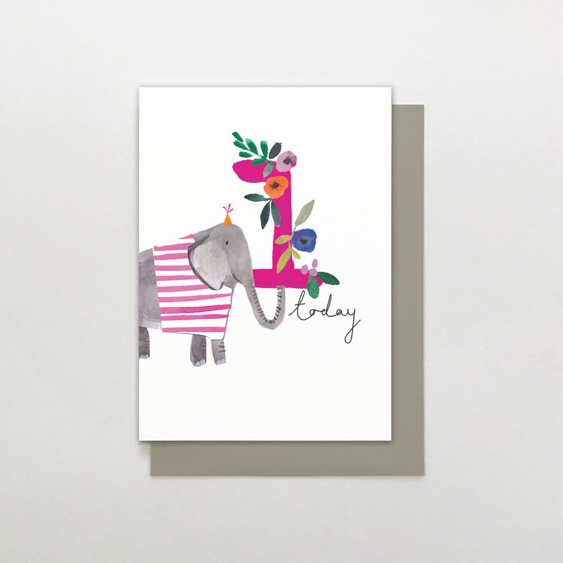Elephant 1 Today Birthday Card - product images