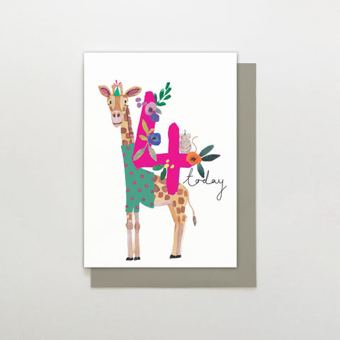 Giraffe,&,Mouse,4,Today,Birthday,Card,buy giraffe 4th birthday card online for child, buy childs kids age four birthday card with jungle animals, buy age four animal birthday card for little girl online, kids 4th birthday cards with giraffes, buy cute 4th birthday cards with animals online, g
