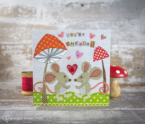 Mice,&,Toadstools,Engagement,Card,buy autumn cards online, buy cards online for autumn birthdays, buy engagement cards with animals online, buy engagement cards for special couple online, buy mice engagement cards online, buy toadstool cards online, buy you are engaged cards online