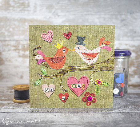Love Birds Mr & Mrs Wedding Day Card - product images  of
