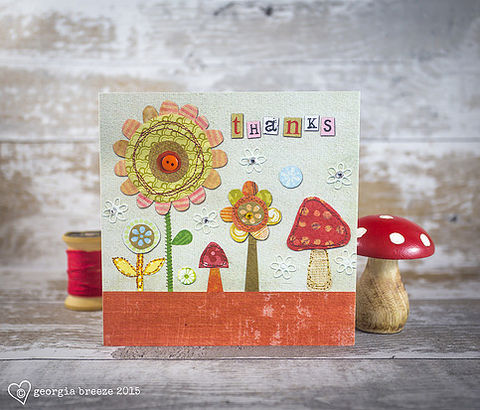 Flowers,&,Toadstools,Thank,You,Card,buy autumn thank you cards online, buy thank you cards online, buy toadstool thank you cards online, buy floral thank you cards online, buy pretty thank you cards with flowers mushrooms and toadstools online, buy thank you cards for her online