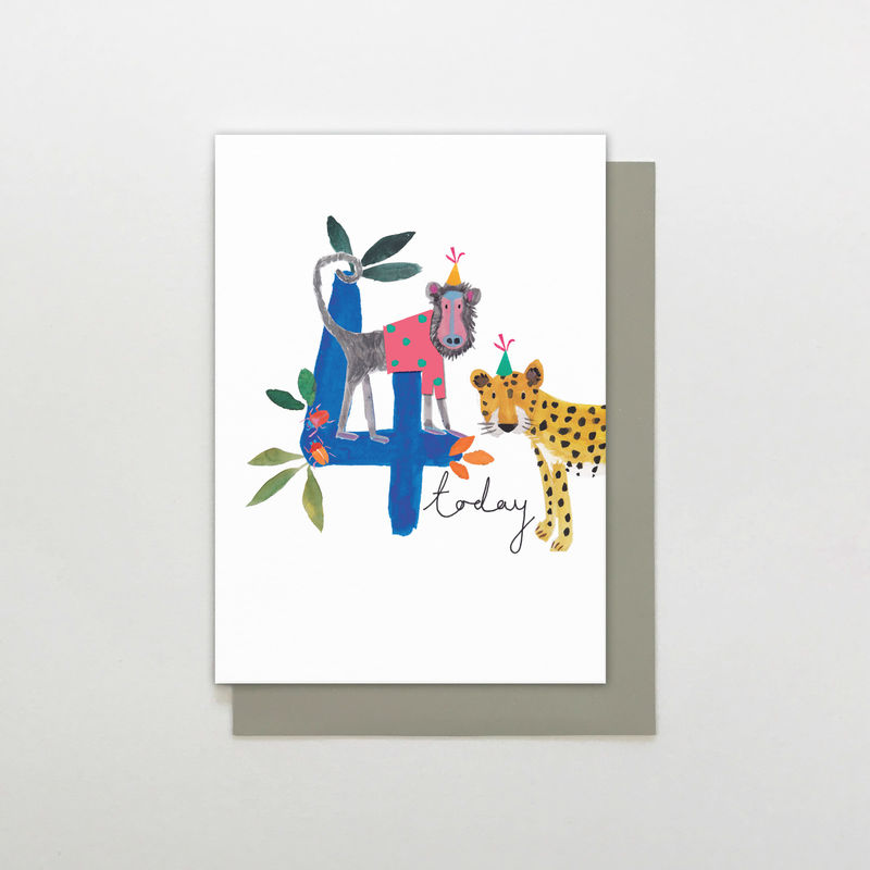 Baboon & Leopard 4 Today Birthday Card - product images