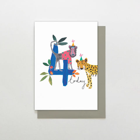 Baboon,&,Leopard,4,Today,Birthday,Card,buy jungle animal 4th birthday card online for child, buy childs kids age four birthday card with jungle animals, buy age four animal birthday card for little boy online, kids 4th birthday cards with baboons monkey, buy cute 4th birthday cards with animal
