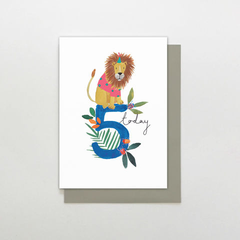 Lion,5,Today,Birthday,Card,buy jungle animal 5th birthday card online for child, buy childs kids age five birthday card with jungle animals, buy age five animal birthday card for little boy online, kids fifth birthday cards with lions, buy cute 5th birthday cards with lion