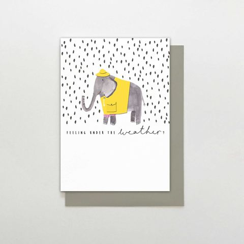 Elephant,Feeling,Under,The,Weather,Card,buy elephant get well soon card online, buy elephant feeling under the weather card online. buy get well soon cards with elephants online, buy feel better soon cards with elephants and raindrops, get well soon cards with animals